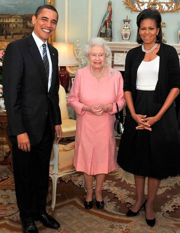 Barack Obama et sa femme Michelle, avec la reine Elisabeth