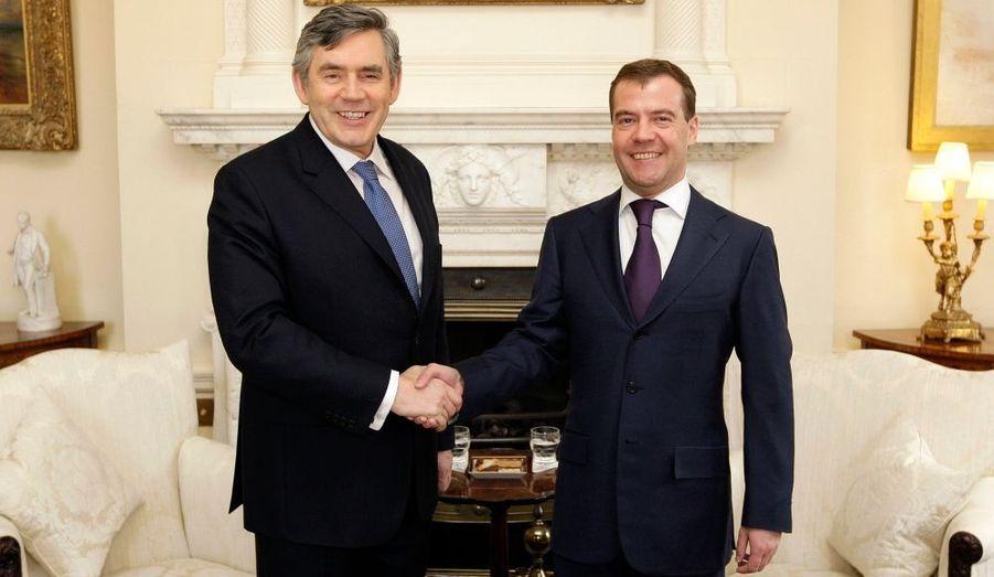 Gordon Brown et Dimitri Medvedev