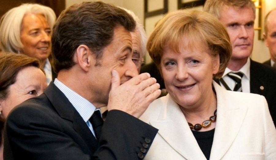 La chancelière allemande, Angela Merkel et le président français Nicolas Sarkozy