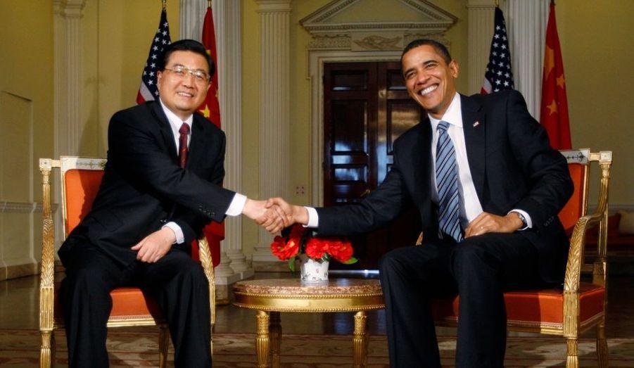 Les présidents chinois et américain, Hu Jintao et Barack Obama