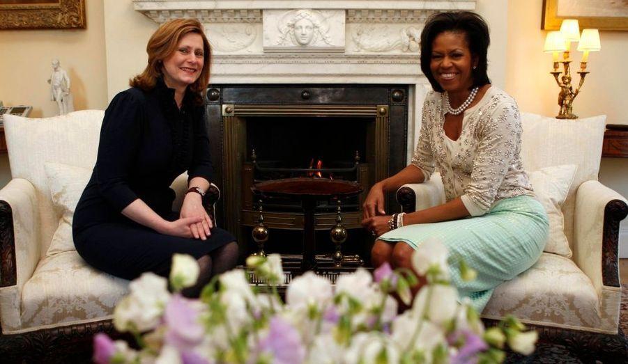 Michelle Obama en compagnie de l'épouse de Gordon Brown, Sarah