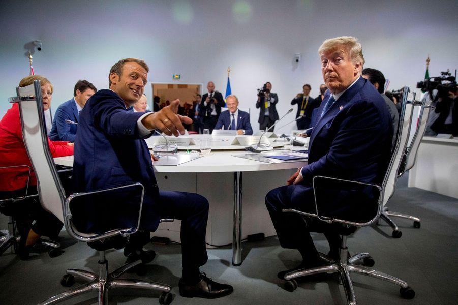 Emmanuel Macron et Donald Trump, dimanche matin, à Biarritz.