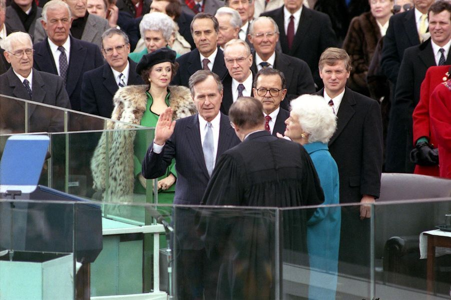 George H W Bush le jour de son investiture en janvier 1989