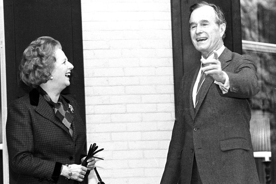 Margaret Thatcher et George H. W. Bush en novembre 1986
