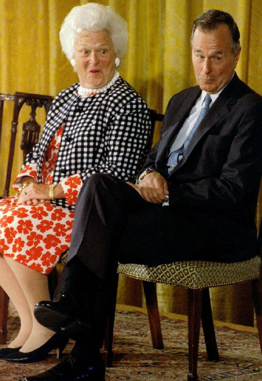 A Washington pour découvrir leur portrait à la Maison blanche, en 1995