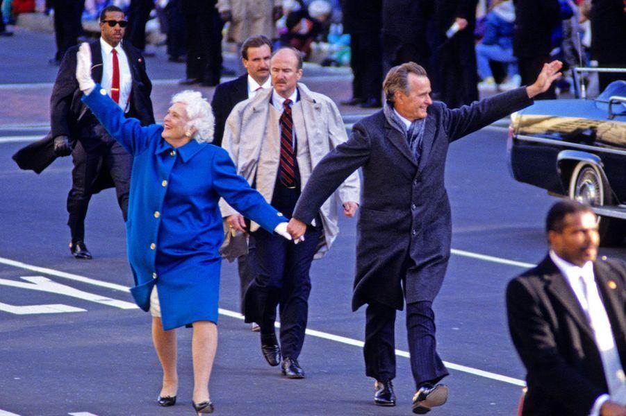 En 1989 devant le Capitole après la prise de pouvoir de George W. H. Bush