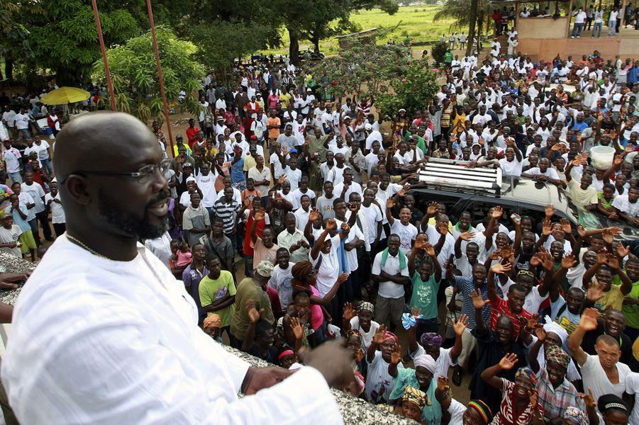 George Weah à Monrovia, en novembre 2011.