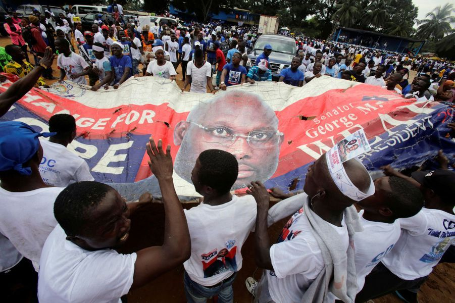Les partisans de George Weah à Monrovia, en octobre 2017.