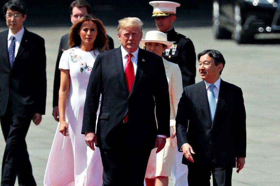 Donald et Melania Trump rencontrent l'empereur Naruhito et l'impératrice Masako au palais impérial de Tokyo, le 27 mai 2019.