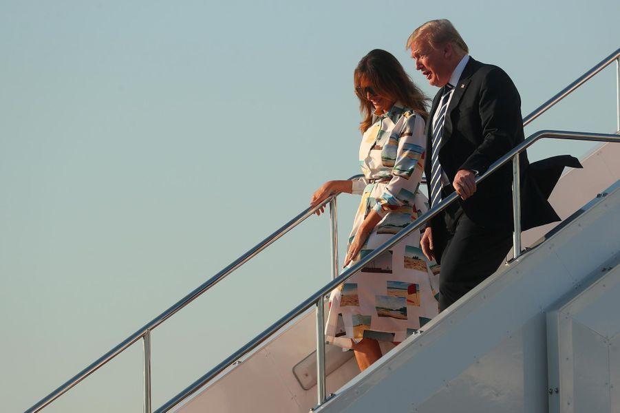Donald et Melania Trump arrivant à Tokyo, le 25 mai 2019.