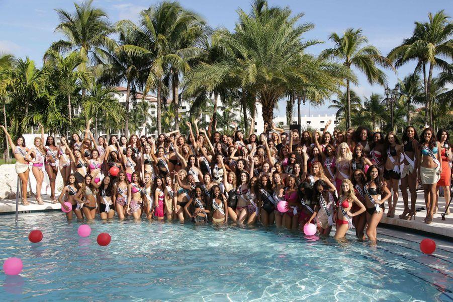 Lors du défilé en maillot de bain des Miss participant au concours de Miss Univers au Trump National Doral, en janvier 2015.