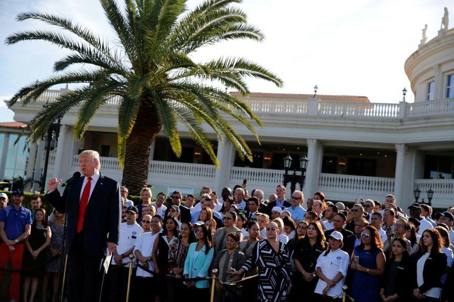 Discours de Donald Trump au Trump National Doral, en octobre 2016.