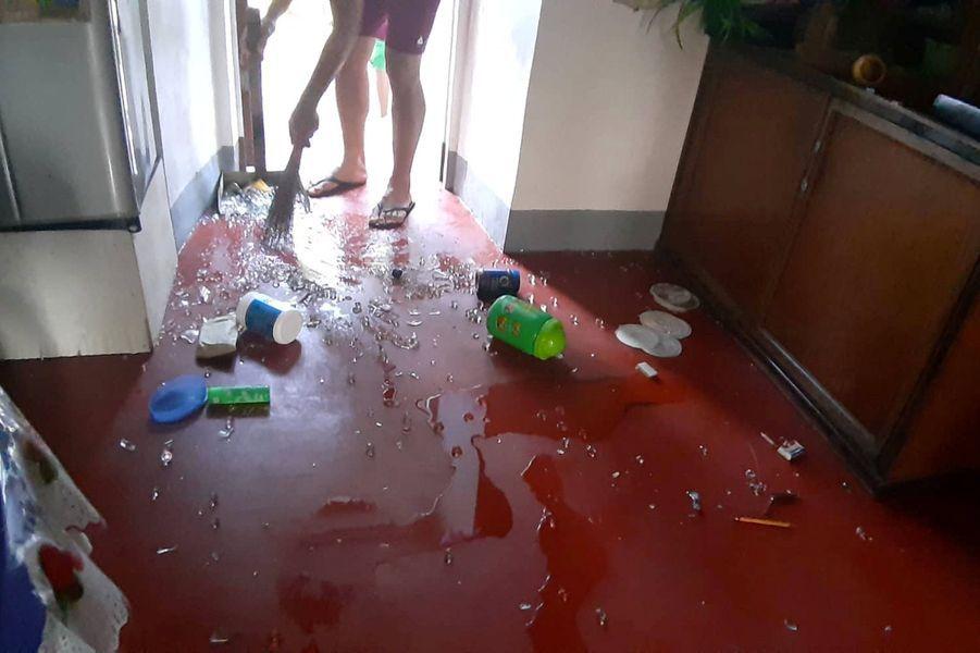L'intérieur d'une maison, dans laprovince de Batanes,après les deux secousses.