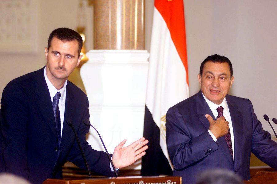 Bachar el-Assad et Hosni Moubarak en octobre 2000.