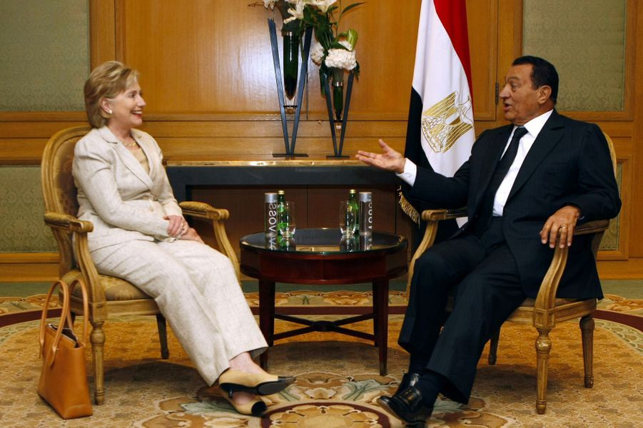 Hillary Clinton et Hosni Moubarak en aout 2009.