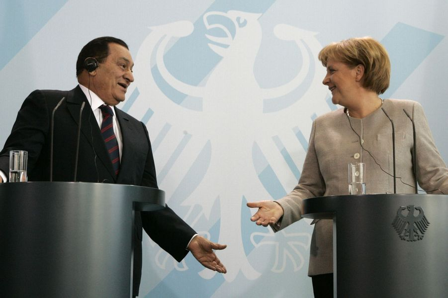 Hosni Moubarak et Angela Merkel en avril 2008.
