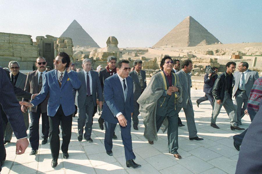 Hosni Moubarak et Mouammar Kadhafi en janvier 1993.