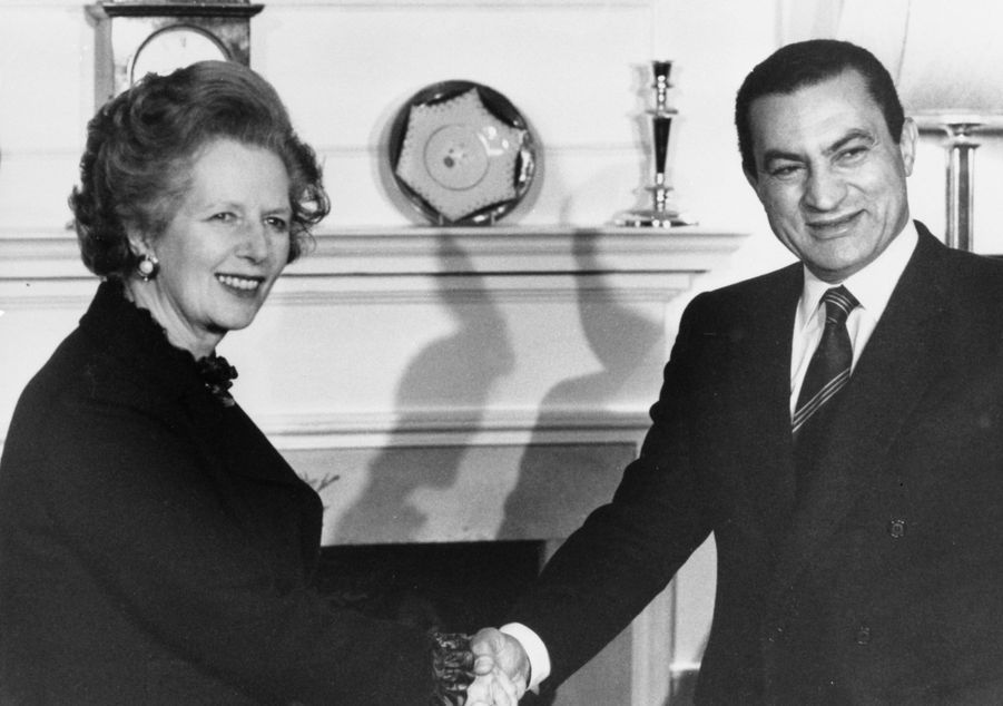 Margaret Thatcher et Hosni Moubarak en mars 1985.