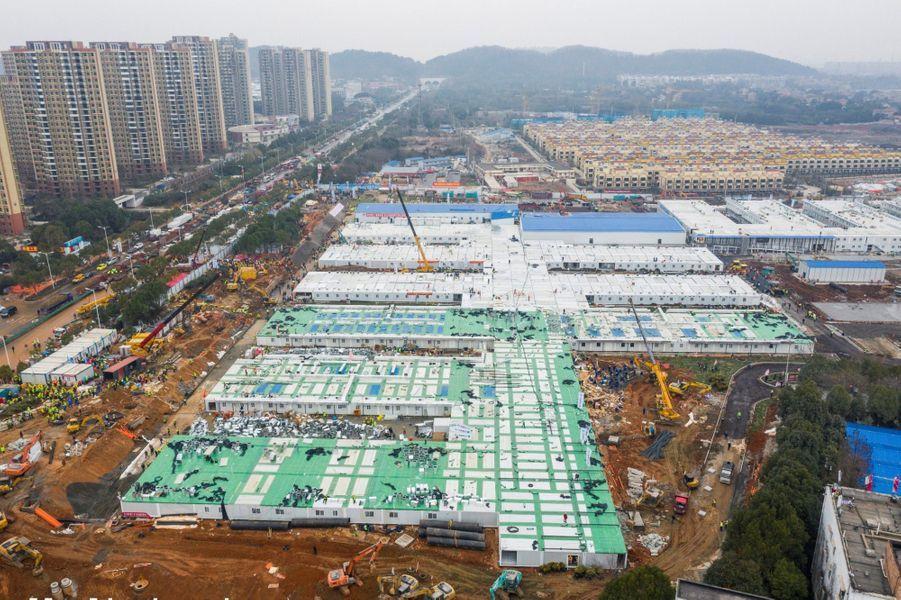 Un hôpital dédié aux malades du covid-19 construit en 8 jours à Wuhan, le 2 février 2020
