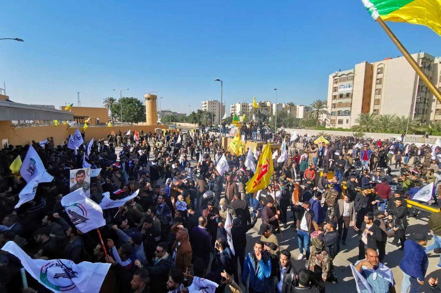 Manifestation à Bagdad, en Irak, le 31 décembre 2019.