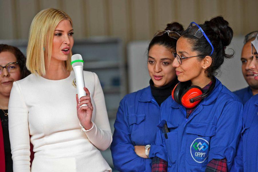 Ivanka Trump àl'Institut Spécialisé des Métiers de l'Aéronautique et la Logistique Aéroportuaire (ISMALA), près de Casablanca, au Maroc, le 8 novembre 2019.
