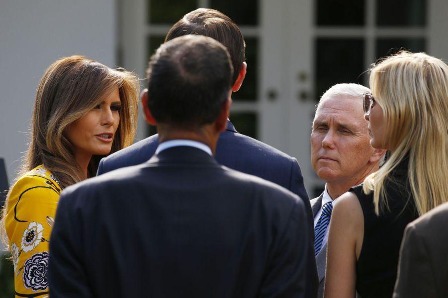 Melania Trump, Ivanka Trump et Jared Kushner à la Maison Blanche, le 26 juin 2017.