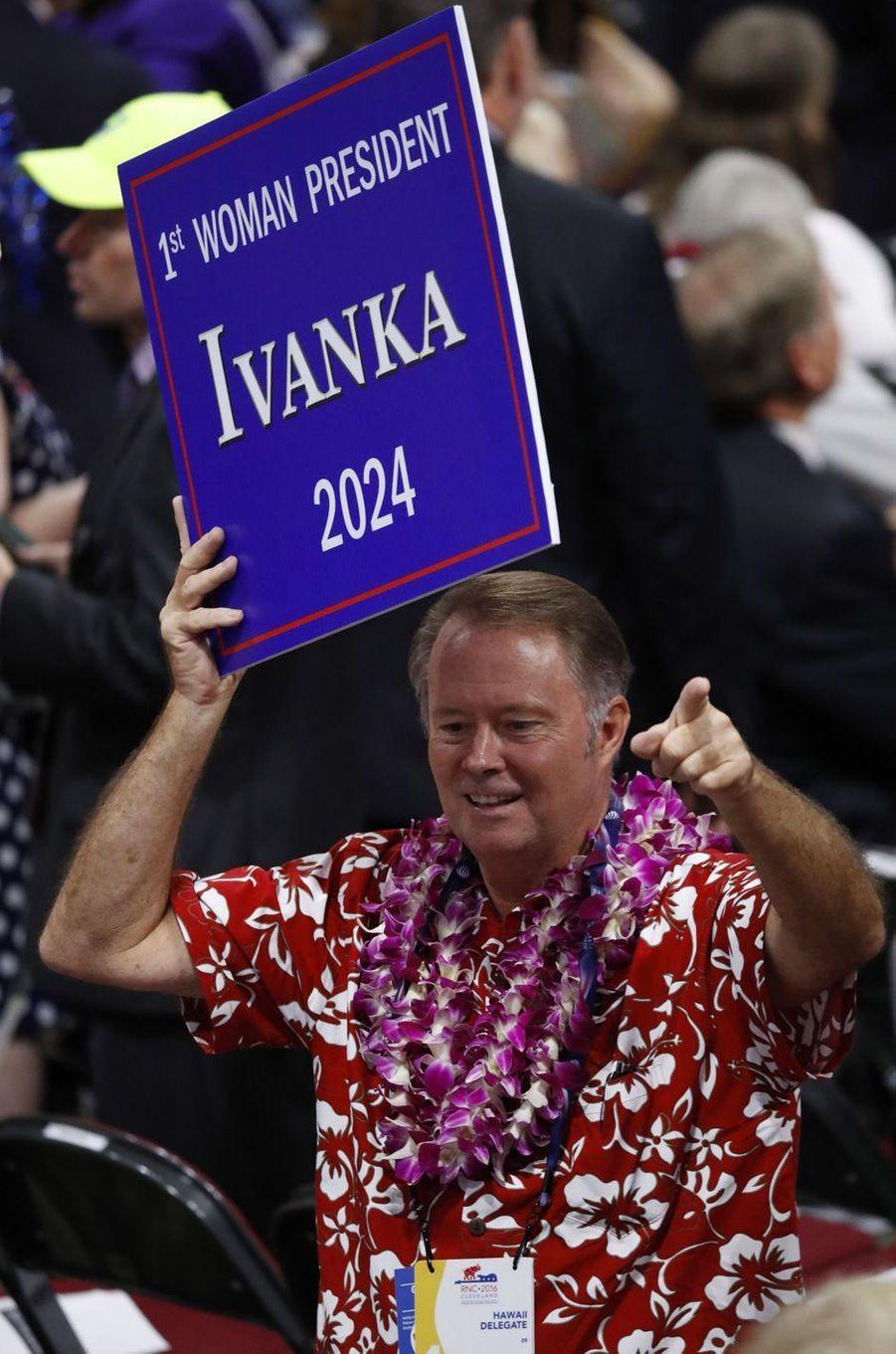 Un panneau «Ivanka 2024» à la convention républicaine, en juillet 2016.