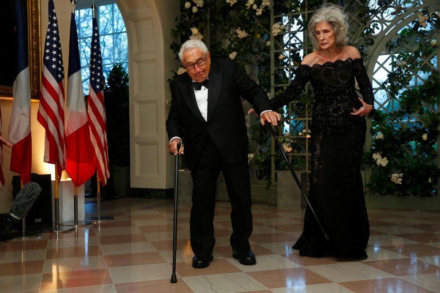 Henry et Nancy Kissingerau dîner d'Etat à la Maison-Blanche, le 24 avril 2018.