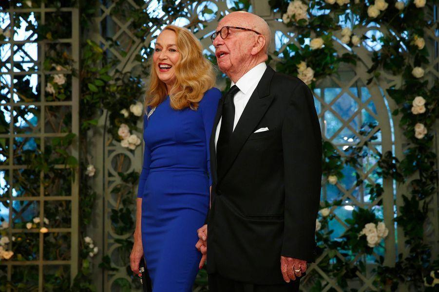 Jerry Hall et Rupert Murdochau dîner d'Etat à la Maison-Blanche, le 24 avril 2018.