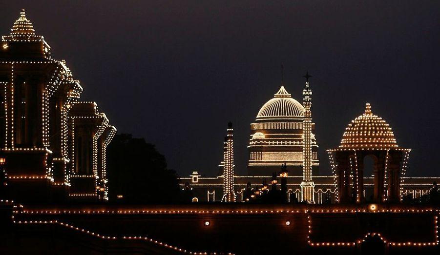 A New-Dehli, le Palais présidentiel s'est illuminé.