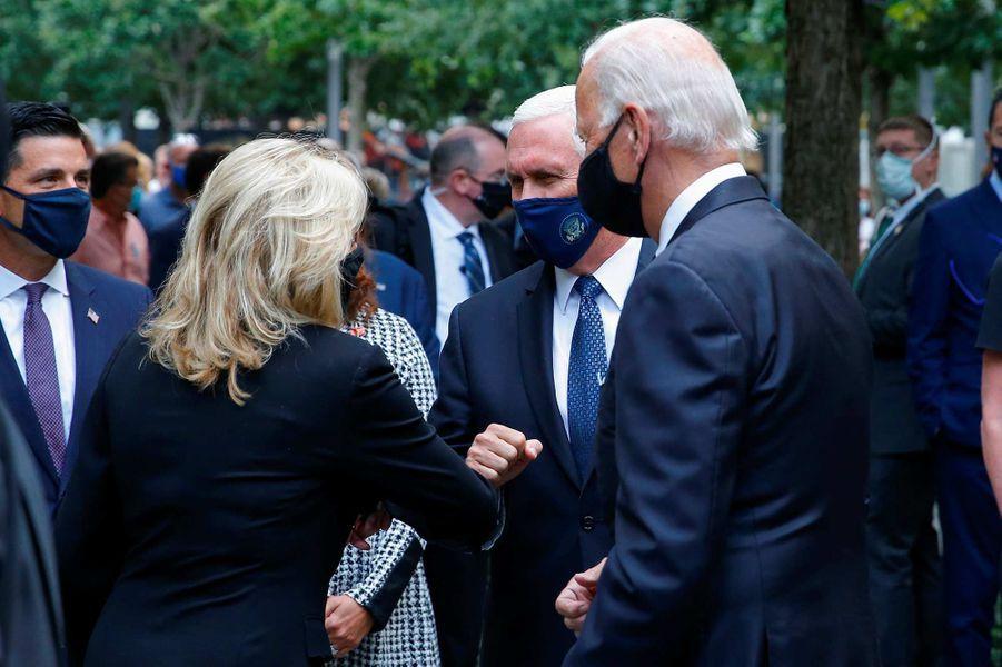 Jill Biden, Joe Biden et Mike Penceontassisté à une cérémonie de commémoration à New York, 19 ans après les attentats du 11-Septembre.