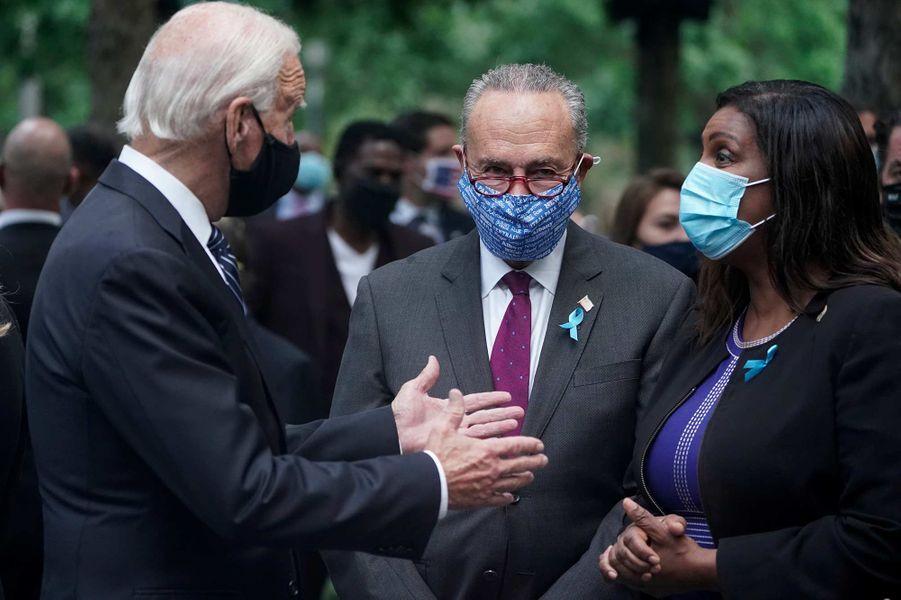 Joe Biden, Chuck Schumer et Letitia Jonesontassisté à une cérémonie de commémoration à New York, 19 ans après les attentats du 11-Septembre.