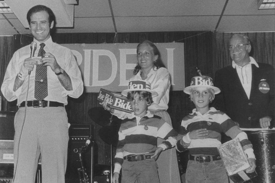 Rassemblement de campagne pour Joe Biden, avec Jill, Beau et Hunter, en 1988.