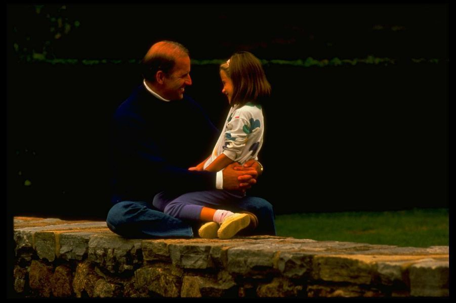 Joe Biden et sa fille Ashley, en 1988.