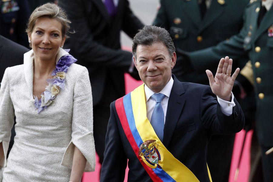 Le président colombien Juan Manuel Santos et son épouse Maria Clemencia Rodriguez le jour de sa prise de fonction, en août 2010.