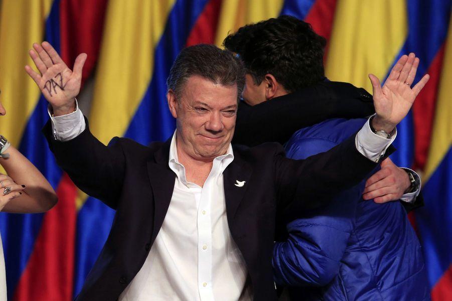 Le président colombien Juan Manuel Santos le jour de sa réélection, en juin 2014.