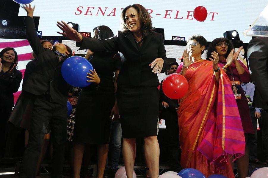 Kamala Harris le soir de son élection au poste de sénatrice de Californie à Los Angeles, en novembre 2016.