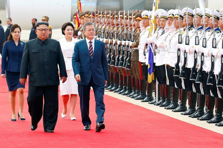 Kim Jong-un a accueilli Moon Jae-in à Pyongyang, le 18 septembre 2018.