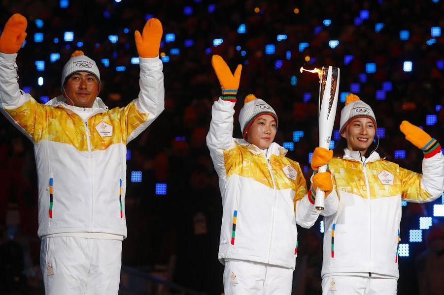 La délégation coréenne àPyeongchang, le 9 février 2018.