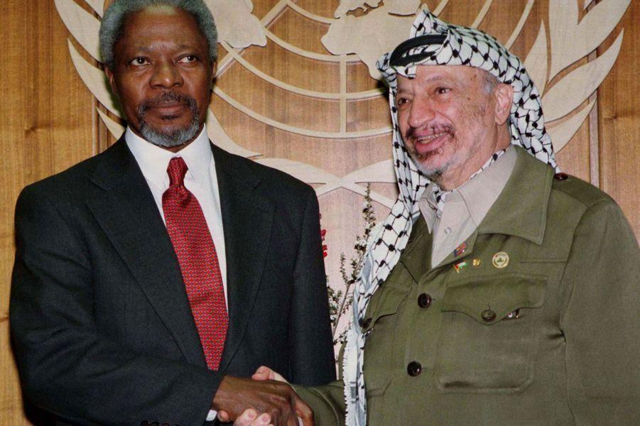 AvecYasser Arafat en 2001, à New York
