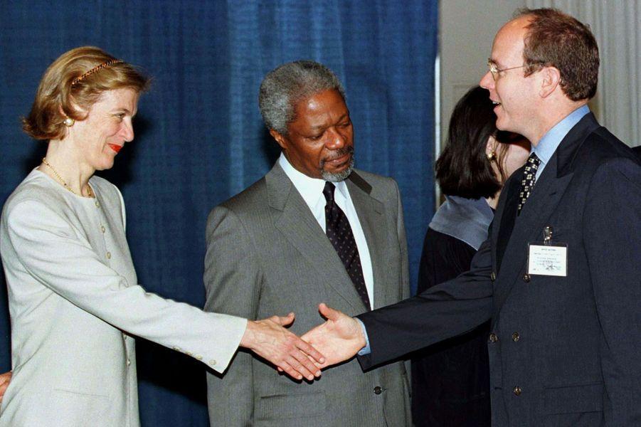 Avec le prince Albert de Monaco en 1997 à New York