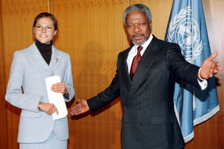 Avec la Princesse Victoria de Suède, en 1997 à New York