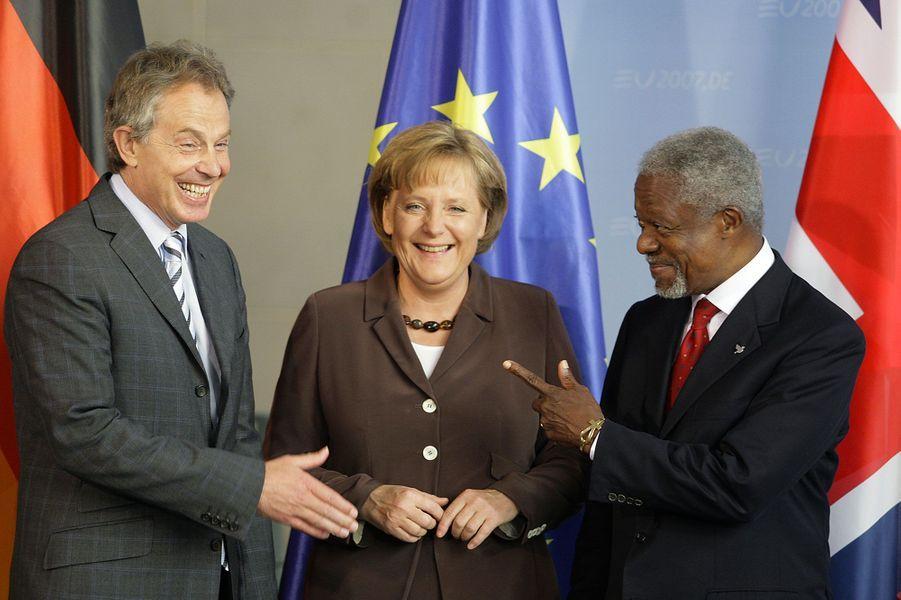 Avec Angela Merkel et Tony Blair en 2007