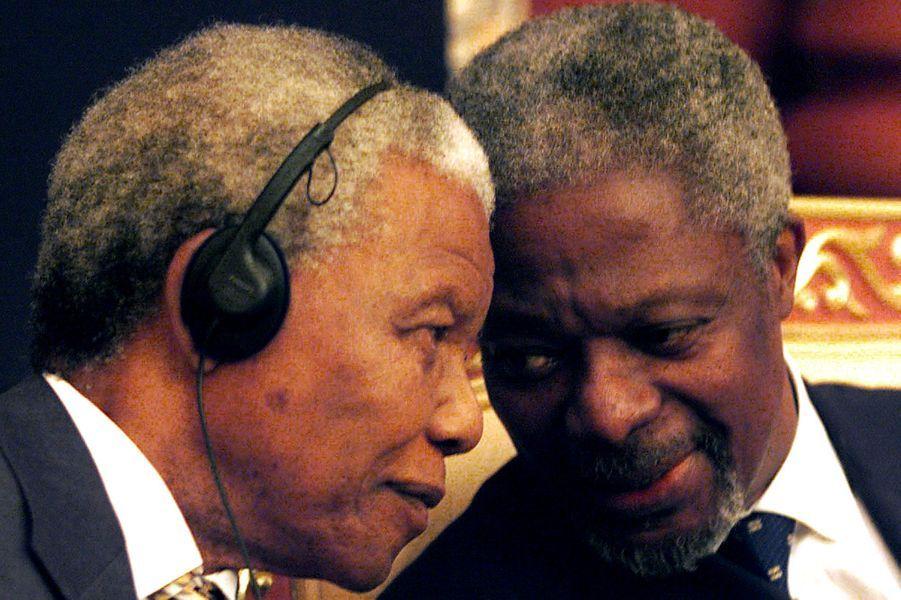 Avec Nelson Mandela en 1998 àAbou Dabi