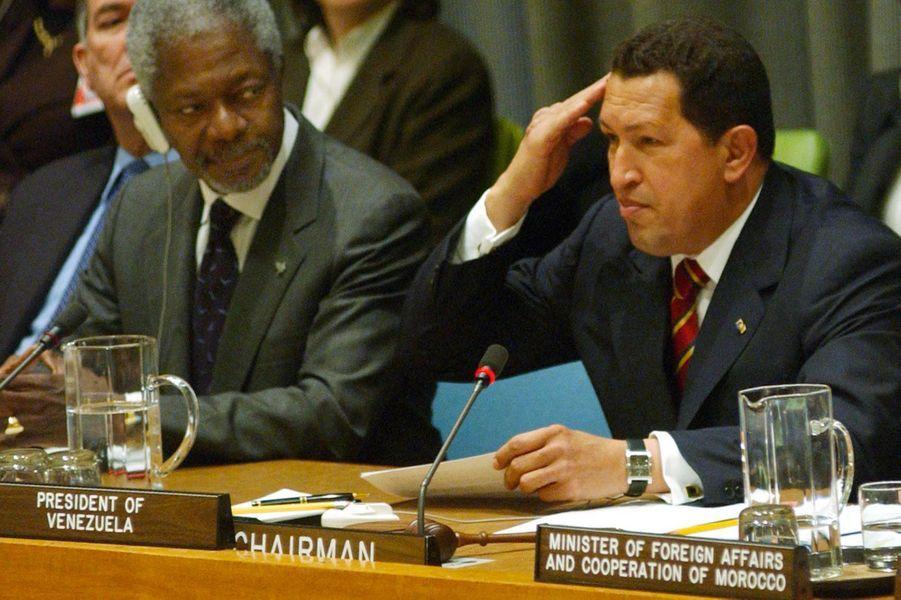 Avec Hugo Chavez en 2003 à New York