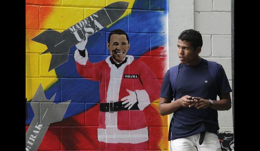Le président des Etats-Unis, Barack Obama, représenté à Caracas après avoir annoncé son intention de ne pas donner suite au bouclier anti-missile américain conçu par Georges W. Bush en 2009.