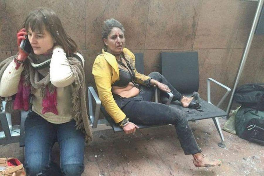 Photo prise lors de l'attentat commis à l'aéroport de Bruxelles.