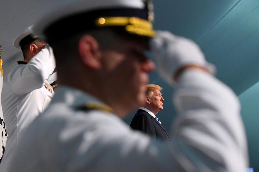 Donald Trump lors d'une cérémonie de gardes-côtes dans le Maryland, le 1er juin 2018.