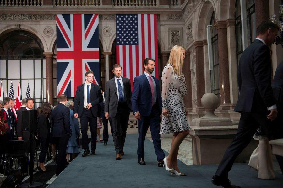 Eric, Donald Jr et Ivanka Trump au Foreign & Commonwealth Office de Londres, le 4 juin 2019.