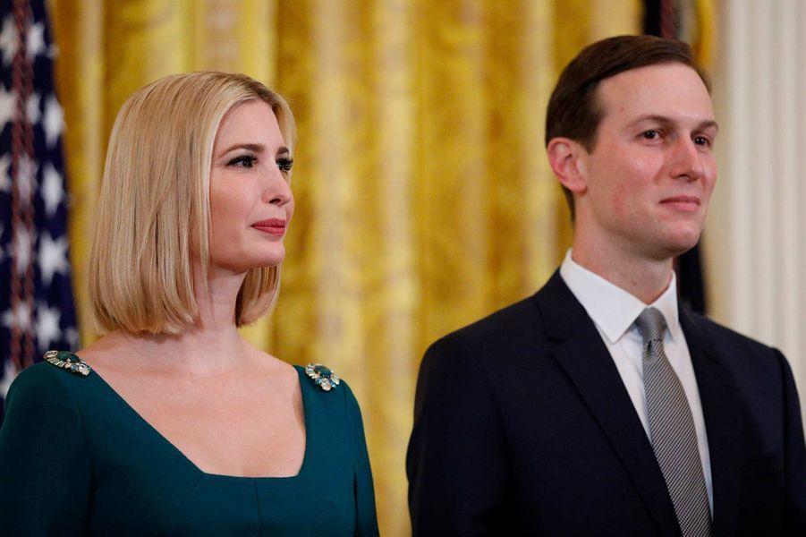 Ivanka Trump et Jared Kushner lors d'une réception pour Hanoukah à la Maison-Blanche, le 11 décembre 2019.